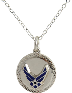 US Air Force Pendant Necklace Style 13S Silver Diamond Cut