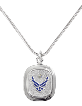 US Air Force Classic Diamond Pendant Necklace Sterling Silver