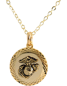US Marine Corps Pendant Necklace Style 13G Gold Diamond Cut