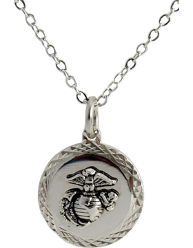 US Marine Corps Pendant Necklace Style 13S Silver Diamond Cut