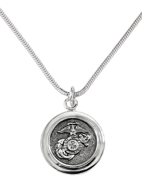 US Marine Corps Classic Diamond Pendant Necklace Sterling Silver