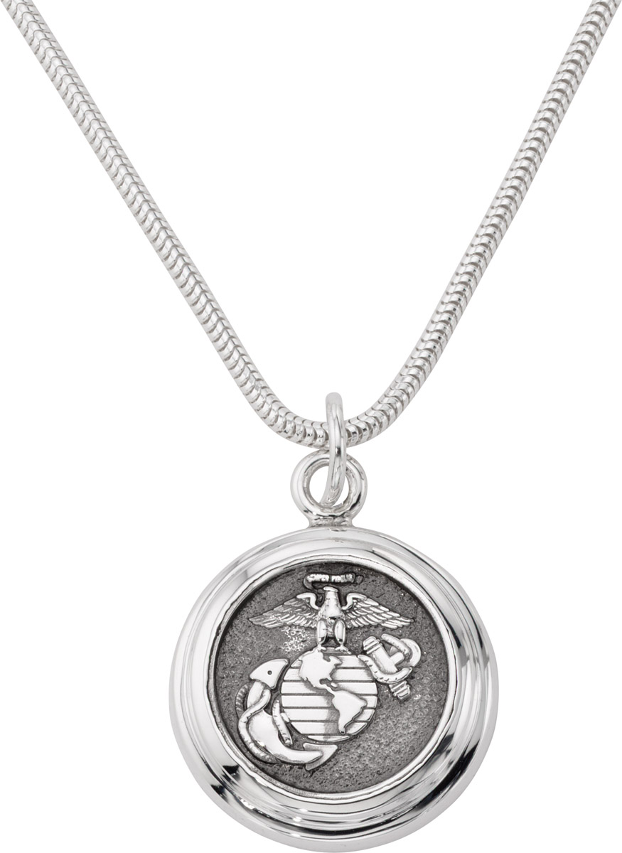 US Marine Corps Pendant Necklace Sterling Silver Style 4