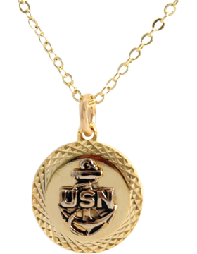US Navy Pendant Necklace Style 13G Gold Diamond Cut