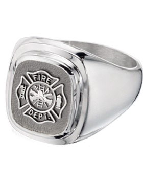 Fire Department Classic Ring Style 14 Sterling Silver small