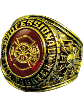 Professional Fire Fighter Ring Style 11 18K Gold Plated small