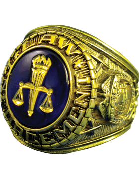 Law Enforcement Ring Style 11 18K Gold Plated