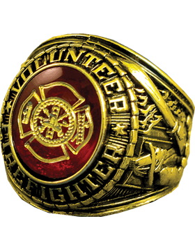 Volunteer Fire Fighter Ring Style 11 18K Gold Plated