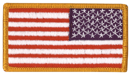 Full Color 2in x 3.25in American Flag with Fastener and Gold Border Reverse
