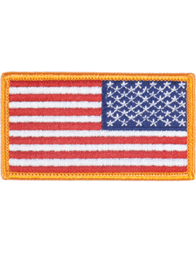 Full Color 2in x 3.25in American Flag Sew-on with Gold Border Reverse
