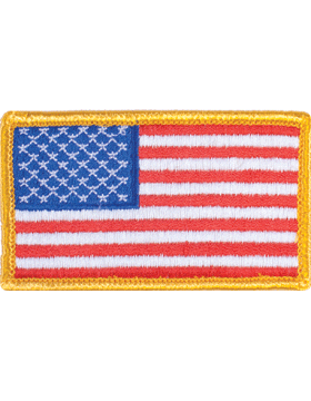 Full Color 2in x 3.25in American Flag Sew-on with Gold Border Forward