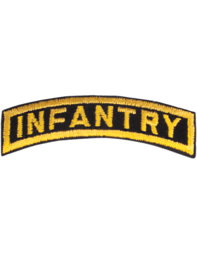 Infantry Tab Black on Gold 3in