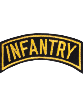 Infantry Tab Black on Gold 4in