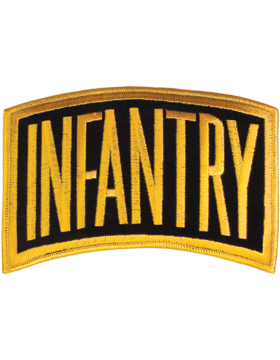 Infantry Tab Gold on Black 6in x 3.25in