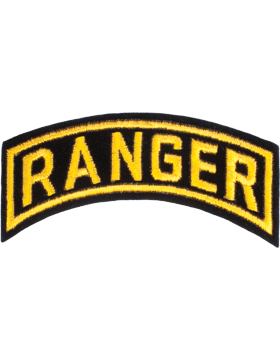 Ranger Tab Black on Gold 4in