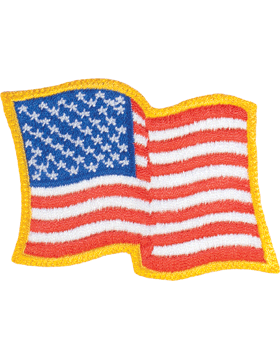 Waving American Flag 2in x 2.25in Gold Border Full Color