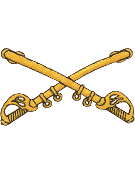Cavalry Branch Of Service Tab Gold on Black 3in