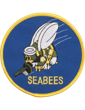 N-404 Seabees Round Patch with Gold Border 4in