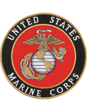 N-453 United States Marine Corps Patch with Globe On Black 7 1/2