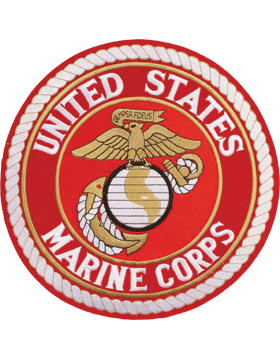 N-454 United States Marine Corps Patch with Globe On Red 10 1/2