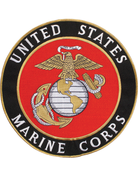 N-455 United States Marine Corps Patch with Globe On Black 10 1/2