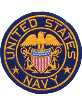 N-459 United States Navy with Eagle and Shield Round Patch Blue 4in