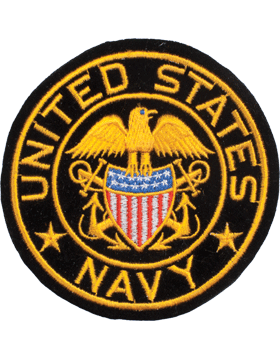 N-460 United States Navy with Eagle and Shield Round Patch Black 4in