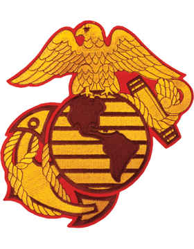 N-464 United States Marine Corps Globe and Anchor Patch Gold on Red w/ Black 8