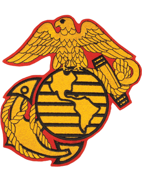 N-465 United States Marine Corps Globe and Anchor Patch Gold on Red w/ Black 6