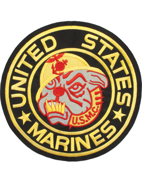 N-472 United States Marines with Bulldog Round Patch Black 10