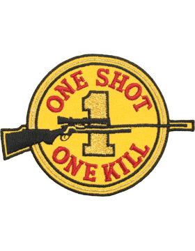N-504 One Shot One Kill Round Patch with Rifle