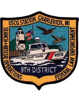 N-CG016 United States Coast Guard Station Charleviox Michigan Patch small