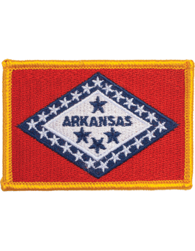 Arkansas 2in x 3in Flag (N-S-AR1) with Gold Border