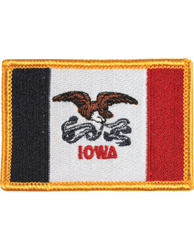 Iowa 2in x 3in Flag (N-S-IA1) with Gold Border