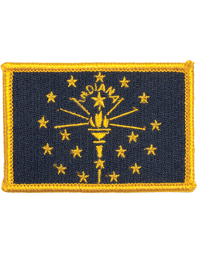 Indiana 2in x 3in Flag (N-S-IN1) with Gold Border small