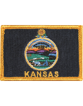 Kansas 2in x 3in Flag (N-S-KS1) with Gold Border