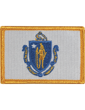 Massachusetts 2in x 3in Flag (N-S-MA1) with Gold Border small