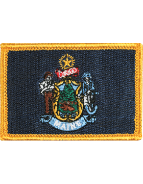 Maine 2in x 3in Flag (N-S-ME1) with Gold Border