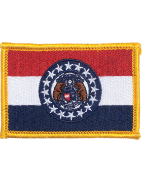 Missouri 2in x 3in Flag (N-S-MO1) with Gold Border small