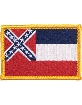 Mississippi 2in x 3in Flag (N-S-MS1) with Gold Border