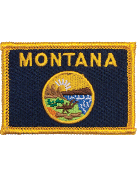 Montana 2in x 3in Flag (N-S-MT1) with Gold Border