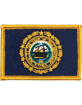New Hampshire 2in x 3in Flag (N-S-NH1) with Gold Border