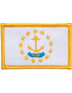 Rhode Island 2in x 3in Flag (N-S-RI1) with Gold Border