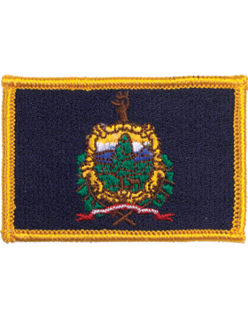 Vermont 2in x 3in Flag (N-S-VT1) with Gold Border