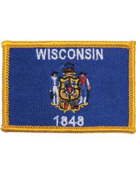 Wisconsin 2in x 3in Flag (N-S-WI1) with Gold Border