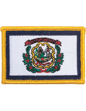 West Virginia 2in x 3in Flag (N-S-WV1) with Gold Border