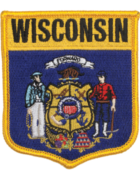 Wisconsin 3.75in Shield (N-SS-WI1) with Gold Border