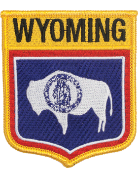 Wyoming 3.75in Shield (N-SS-WY1) with Gold Border