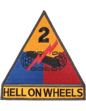 Organization 6in Patch 2 Armor Division with Tab and Heat Seal Full Color small