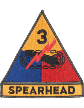 Organization 6in Patch 3 Armor Division with Tab and Heat Seal Full Color small