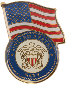 U.S. Navy with American Flag Lapel Pin